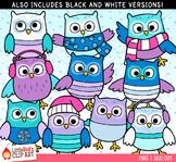 Winter Owls Clip Art