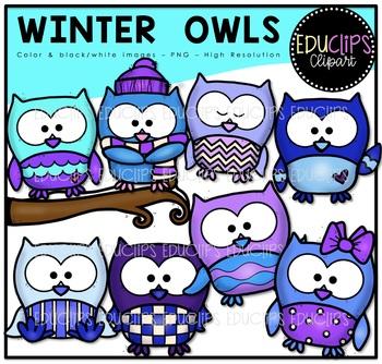 Winter Owls Clip Art Bundle {Educlips Clipart}