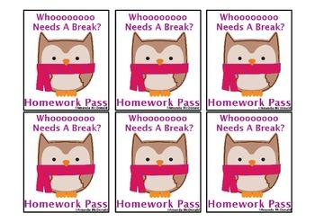 Winter Owls Homework Pass Freebie!