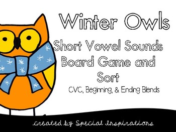 Winter Owls Short Vowels Board Game and Sort (includes 3 b