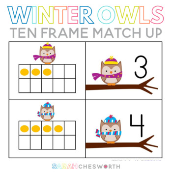 Winter Owls Ten Frame Match Up