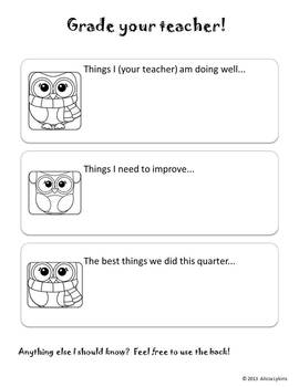 Winter Owls Theme Evaluate Your Teacher