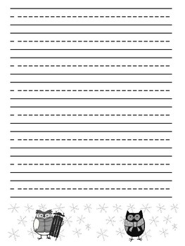 Winter Owls Writing Paper Primary Junior
