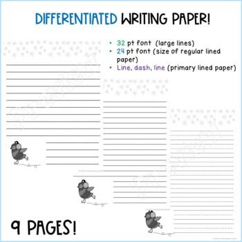 Winter Owls Writing Paper Primary Junior