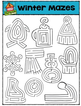 Winter Mazes  (P4 Clips Trioriginals Digital Clip Art)