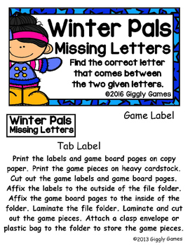 Winter Pals Missing Letters File Folder Game
