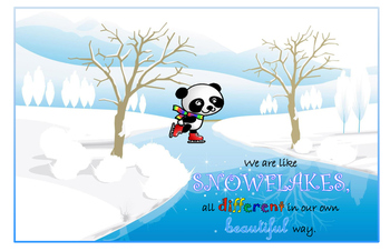 Winter Panda Snowflake Quote