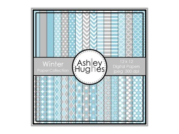 Winter Paper Collection {12x12 Digital Papers for Commercial Use}