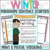 Winter Paragraph Writing Sentence Starters for Google Slides & Print