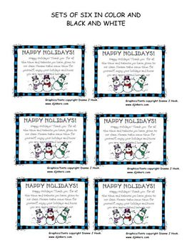 Winter Parent Helpers Thank You Tags