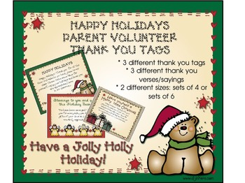Winter: Parent Volunteer Thank You Tags