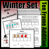 Winter Part, Part Whole Addition With Ten Frames (Colored Mats & Worksheets)