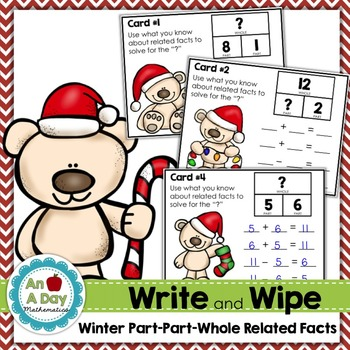 Winter Part-Part-Whole Related Facts Task Cards