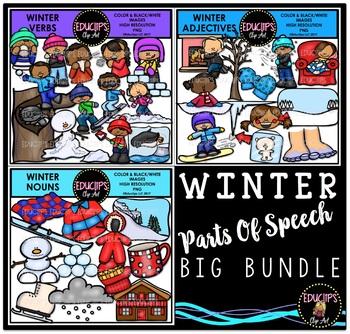Winter - Parts Of Speech Clip Art Big Bundle {Educlips Clipart}