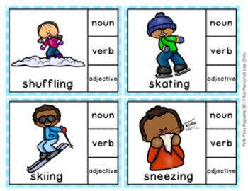 Winter Parts of Speech Clip Cards