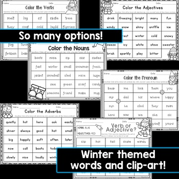 Winter Parts of Speech Coloring Worksheets (12 Pages)