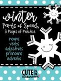 Winter Parts of Speech Practice - Color the Parts of Speech
