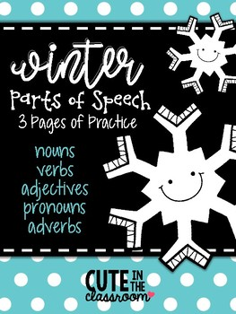 Winter Parts of Speech Practice - Color the Parts of Speech