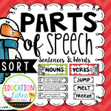 Parts of Speech Sort {Nouns, Verbs, & Adjectives}