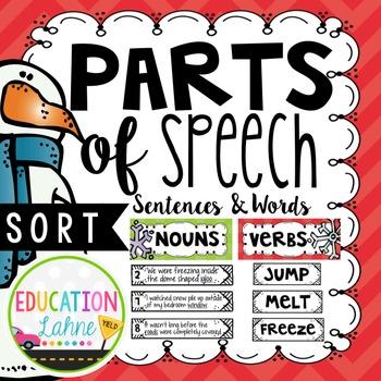 Parts of Speech Sort {Nouns, Verbs, & Adjectives}