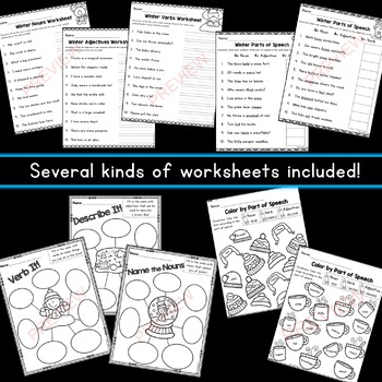 Winter Parts of Speech Sorts for Centers (Nouns/Verbs/Adjectives)