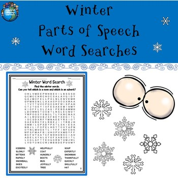 Winter Parts of Speech Word Searches
