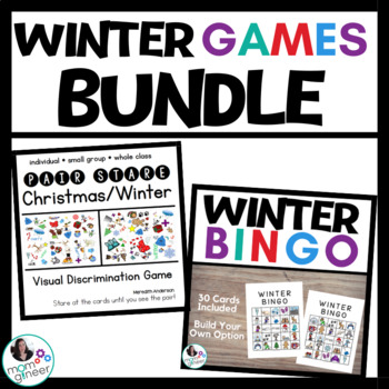 Winter Party Games BUNDLE: Includes Winter Bingo and Pair Stare!