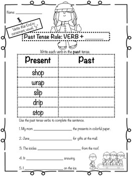 Winter Past Tense Verbs Bundle