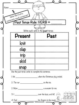 Winter Past Tense Verbs Pack (CVC Ending)