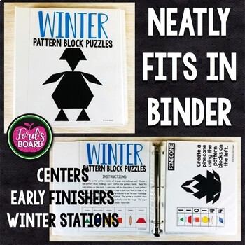 Winter Pattern Block Puzzles   Winter Pattern Block Challenge Cards
