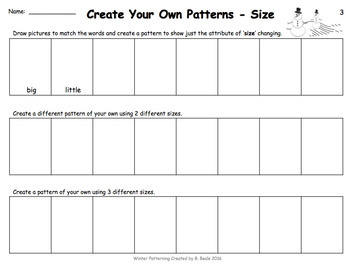 Winter Patterning - Learning About the Attributes - 30 pages - Canadian Version