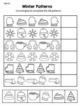 Pattern Worksheets - Winter Math Center