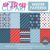 Winter Patterns (Blue) Digital Papers