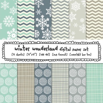 Winter Patterns Digital Paper, Snowflakes Blue and Gray Digital Backgrounds