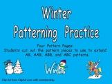 Winter Patterns Independent Practice for Kindergarten