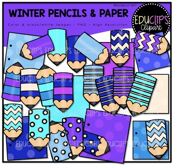 Winter Pencils & Paper Clip Art Bundle {Educlips Clipart}