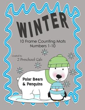 Winter Pengiun and Polar Bear 10 Frame Counting Mats (1-10)