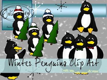 Winter Penguin Clip Art - Color and Line Art 16 Piece Set