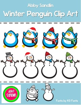 Winter Penguin Clip Art - Commercial and Personal Use