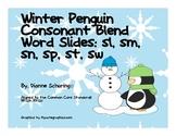 Winter Penguin Consonant Blend Word Slide