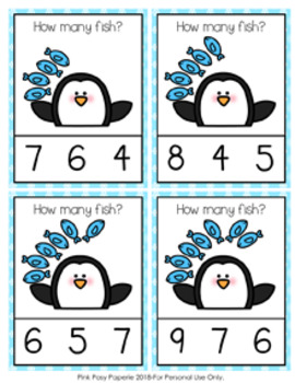 Winter Penguin Count and Clip Cards
