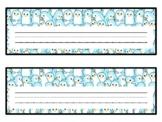 Winter Penguin Desk Name Plates, Name Tags, Labels, Classroom Décor
