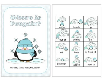 Winter: Penguin Directional Concepts and Where Questions for Speech Therapy