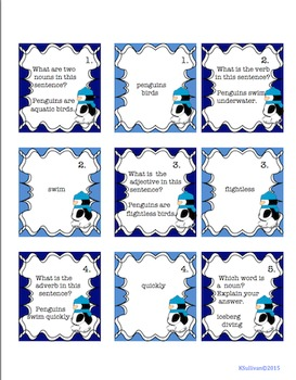 Penguins January Winter Morning Work  Game  Literacy Task Cards Centers!