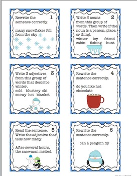 Winter Literacy Morning Work  Game  Task Cards Centers!