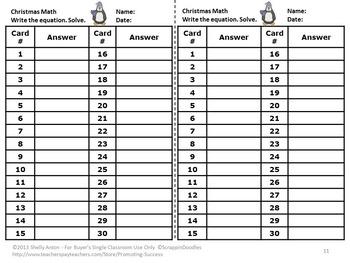 Subtraction Kindergarten Winter Math Game Penguins, Subtraction Facts Task Cards