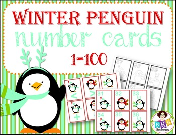 Winter Penguin Number Cards 1-100