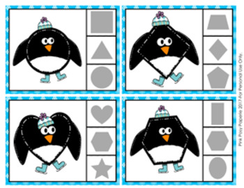 Winter Penguin Shapes Clip Cards