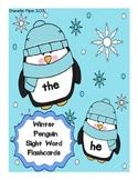 Winter Penguin Sight Word Flashcards