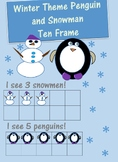 Winter Penguin and Snowman Ten Frame